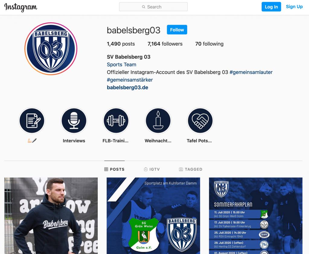 Die Instagram-Seite des Fußballvereins Babelsberg 03 SV. Auf Instagram spielt die Optik eine besondere Rolle, denn nur quadratische Bilder können gepostet werden.